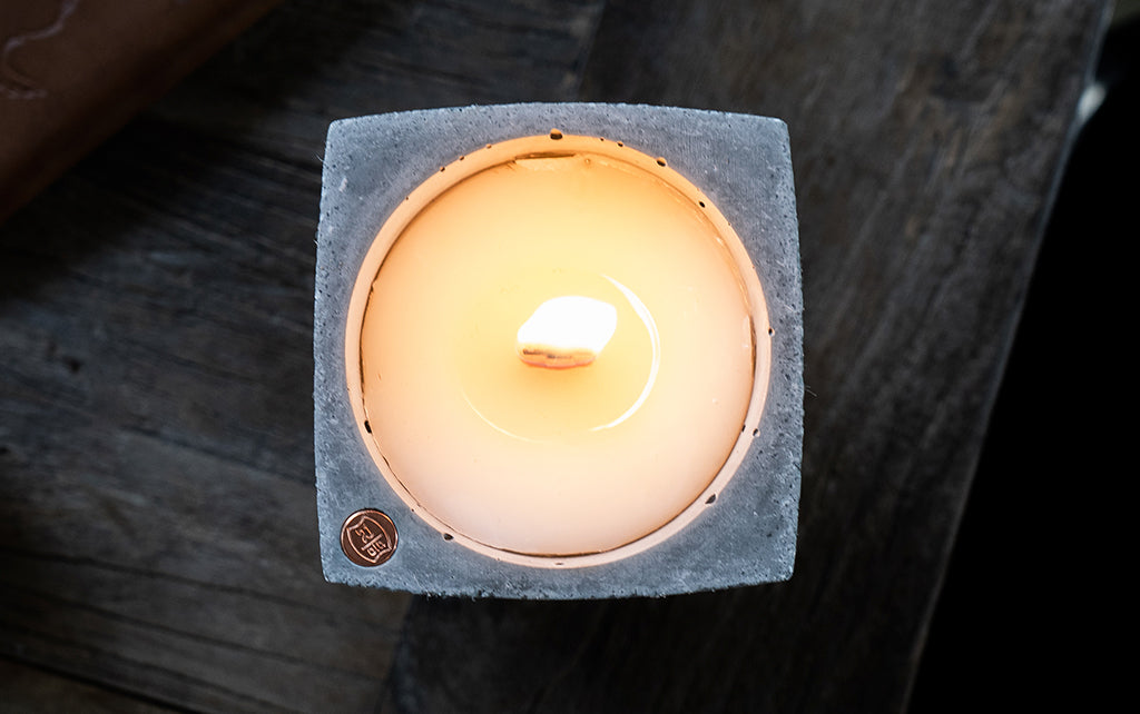 rustic leather candle
