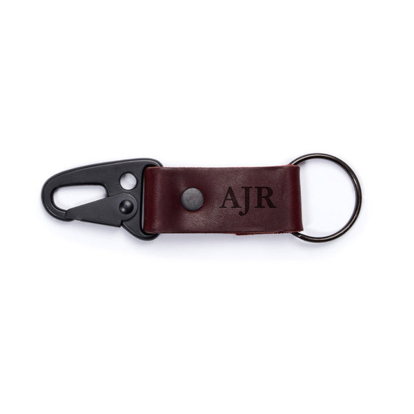 personalized super loop leather keychain