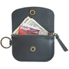 Anchor Card + Coin Leather Wallet - Black