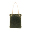 Catalina Canvas Leather tote - Olive canvas + Natural
