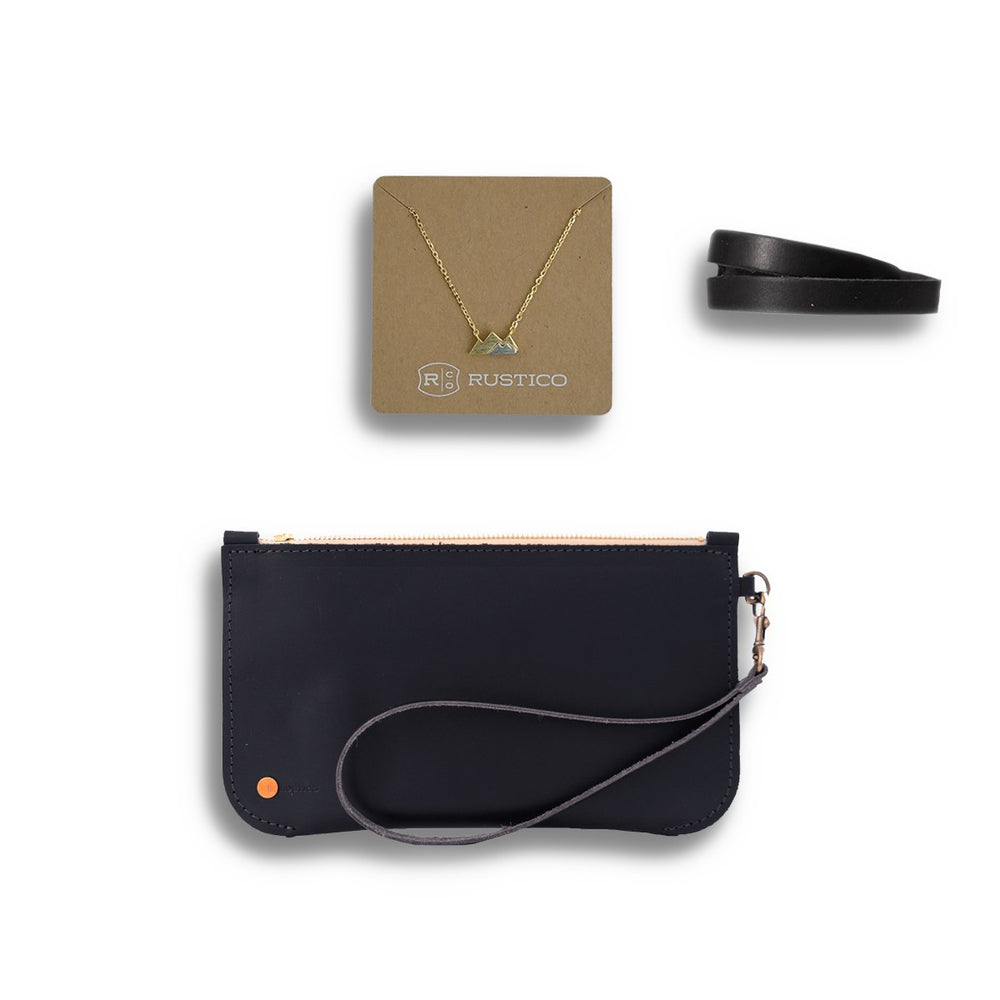 Womens Leather Clutch Gift Set