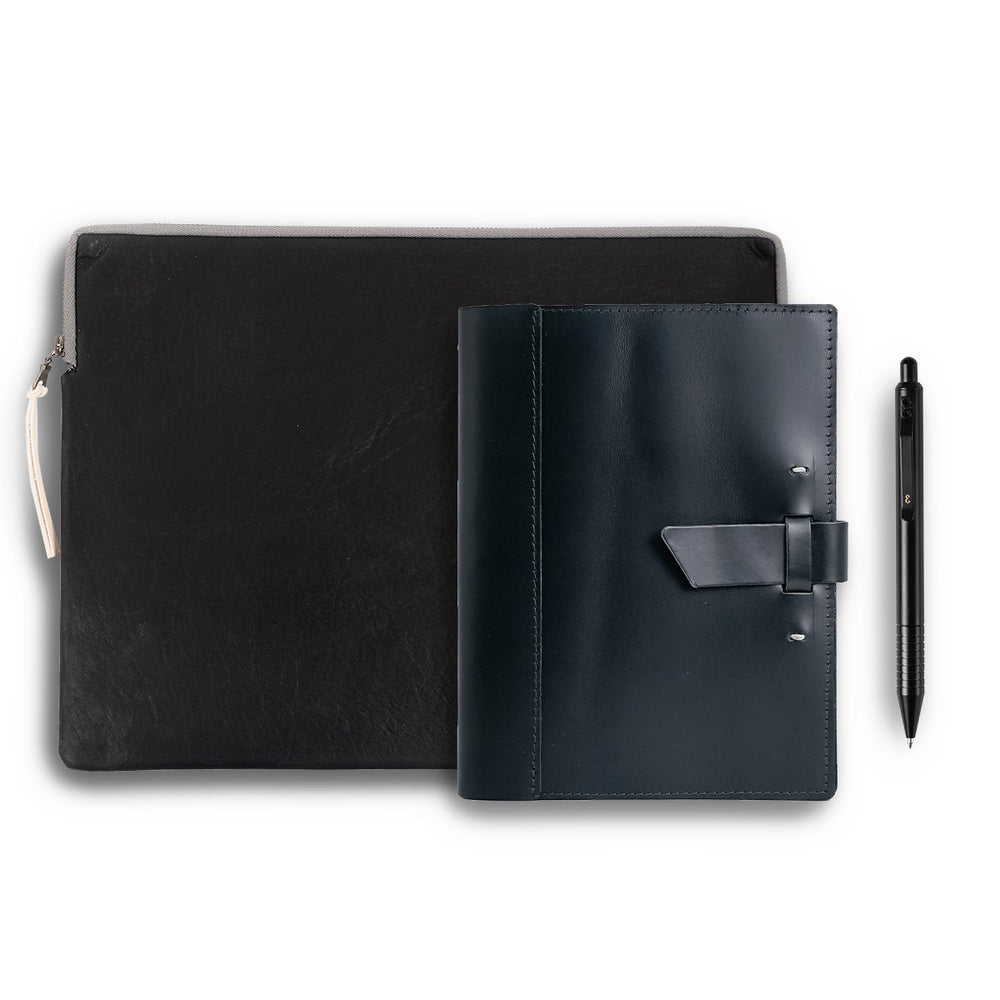 Leather Tech Sleeve + Refillable Notebook + Pen Gift Set