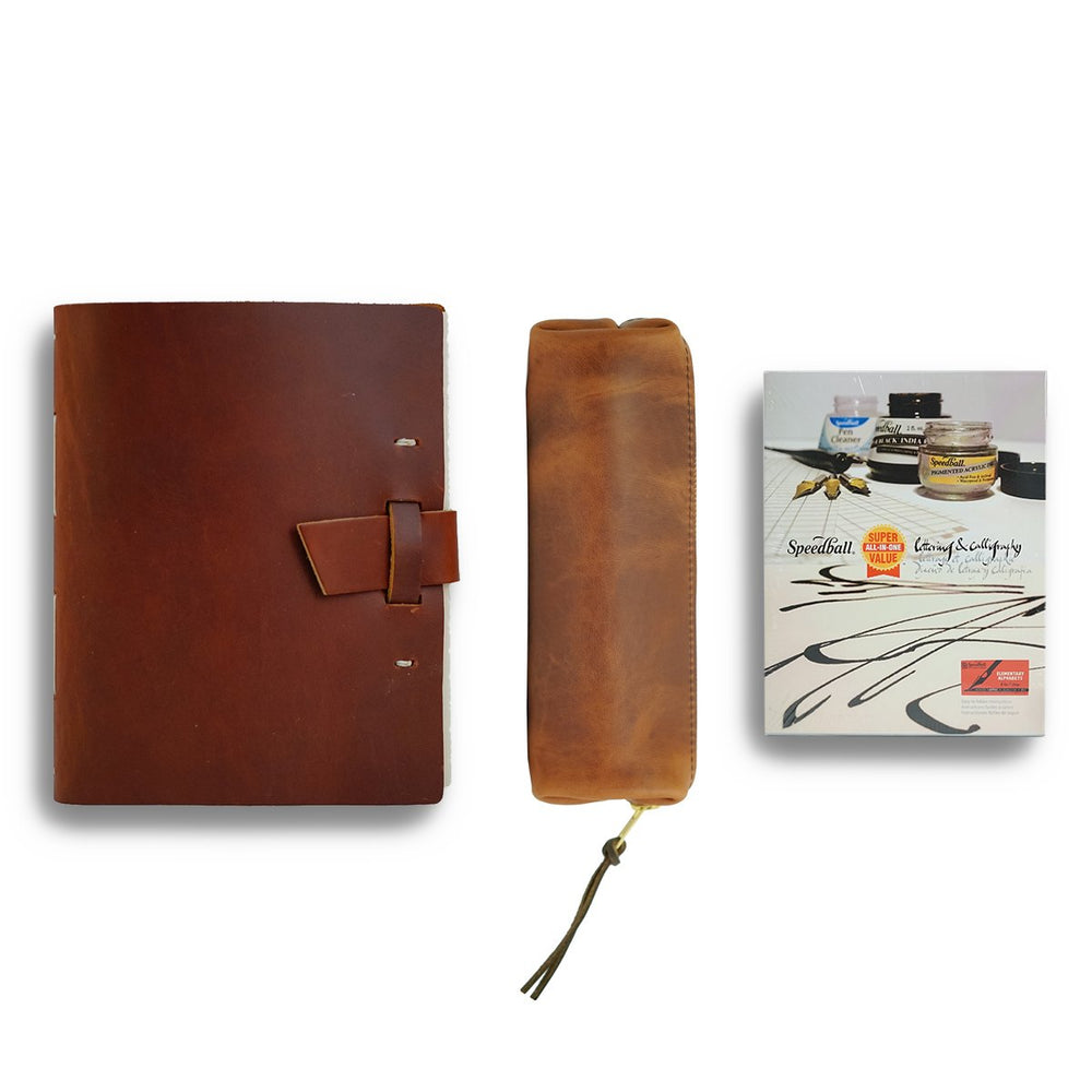 Calligraphy Leather Journal Gift Set