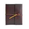 Writers Log Large Leather Notebook - Burgundy / Flap-Tie