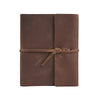 Writers Log Large Leather Notebook - Dark Brown / Flap-Tie