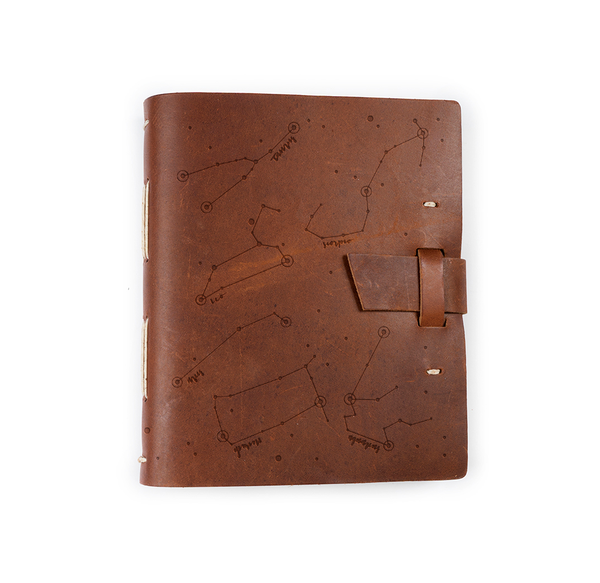Zodiac Night Sky Leather Journal