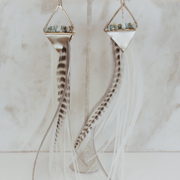 Mint x Feather Divine - Feather earrings