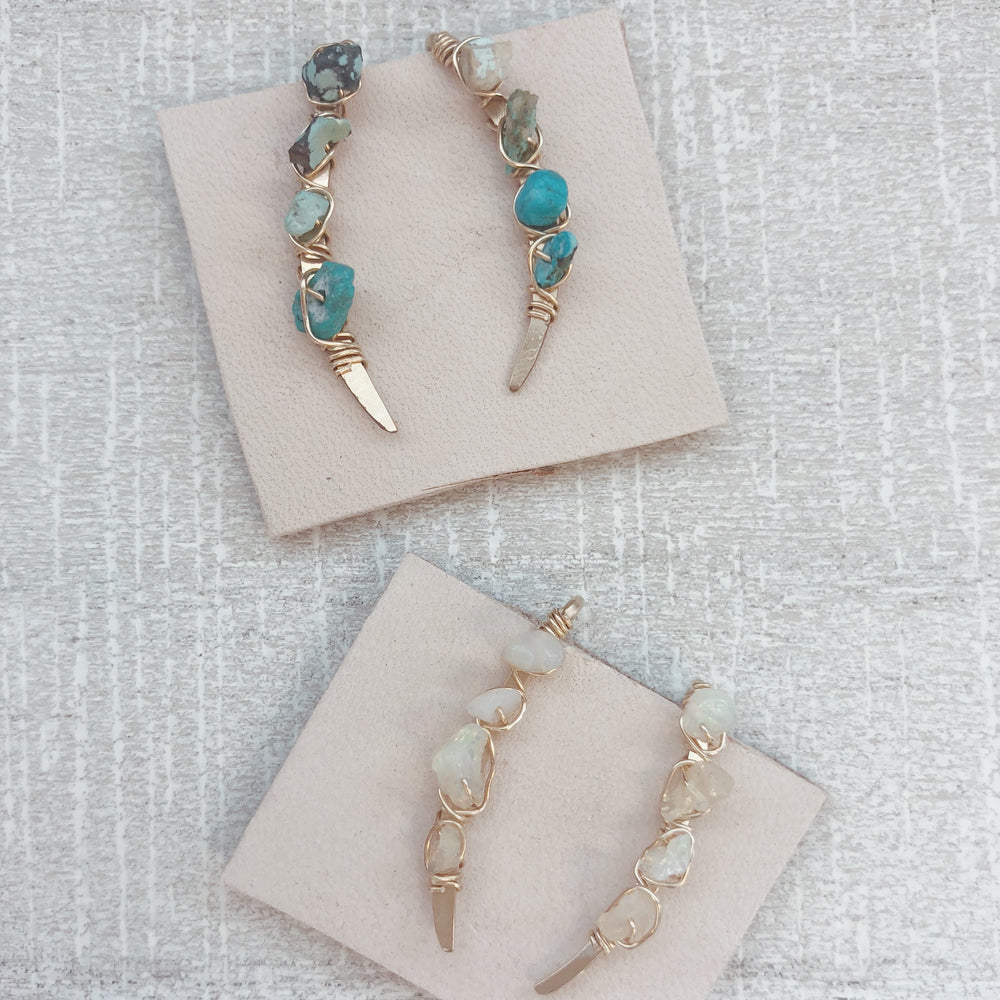 Handmade boho raw turquoise and opal ear climbers
