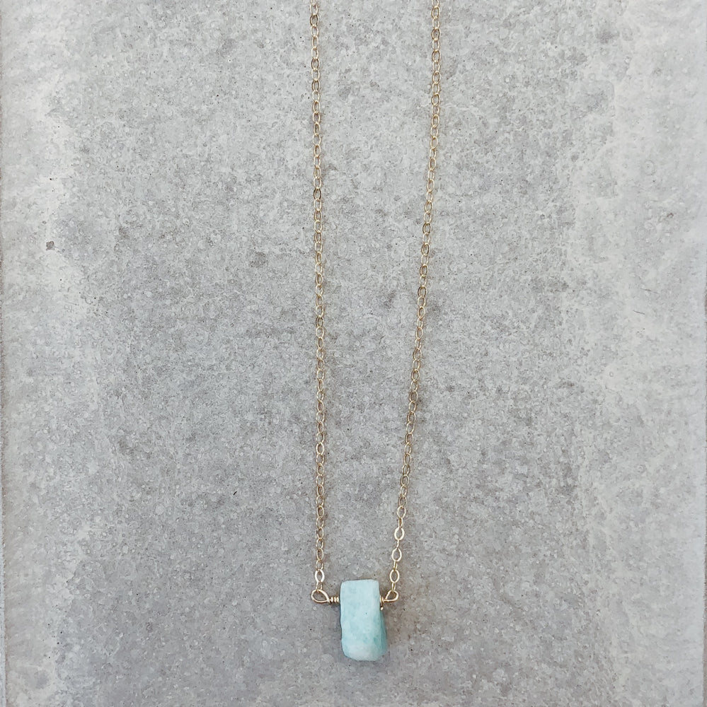 Handmade Boho raw amazonite layering necklace
