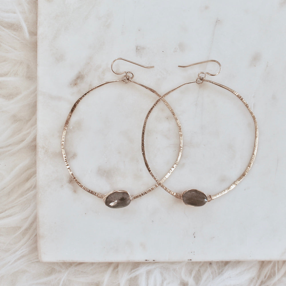 Handmade Boho Faceted Labadorite Hoop Earrings