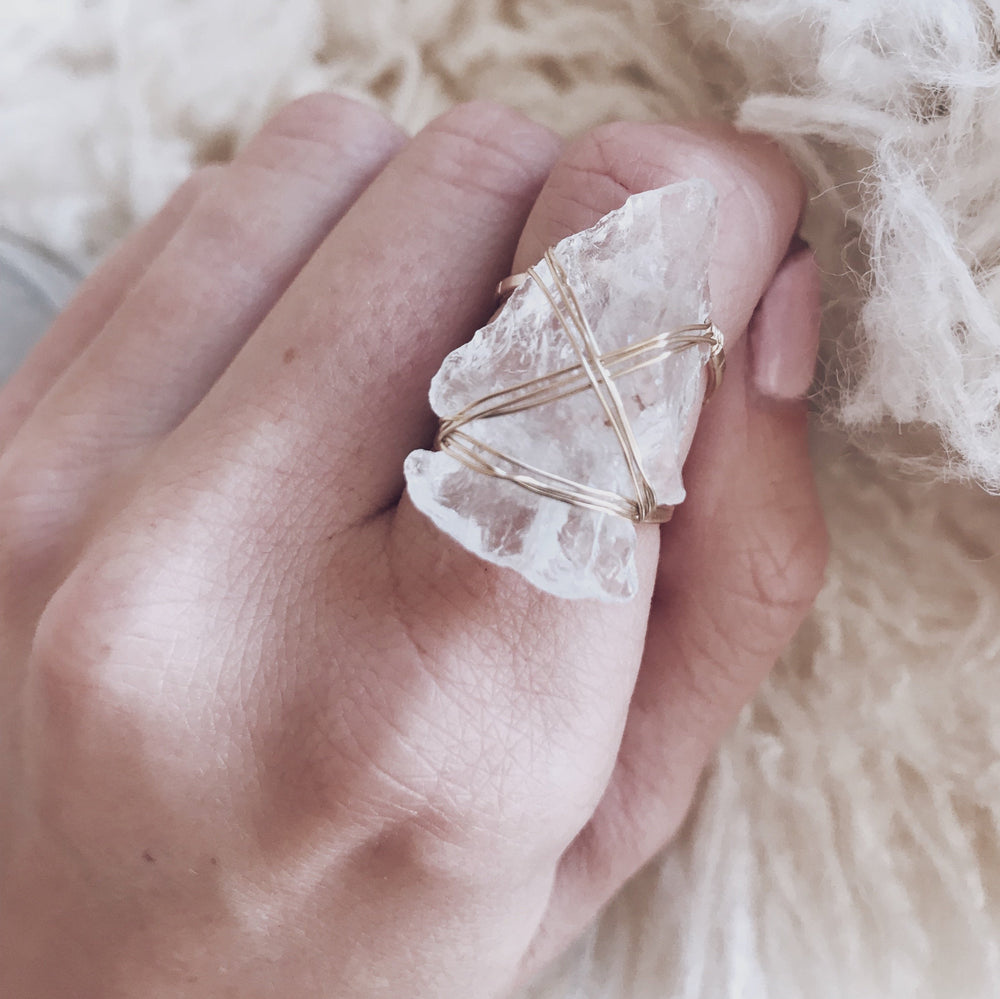 Handmade Boho Crystal Arrowhead Wrap Ring