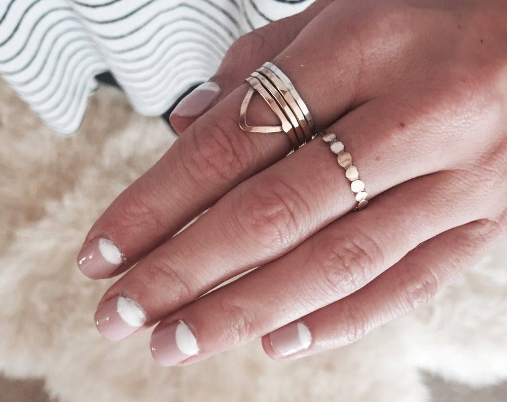 Handmade Boho Hammered Stack Rings