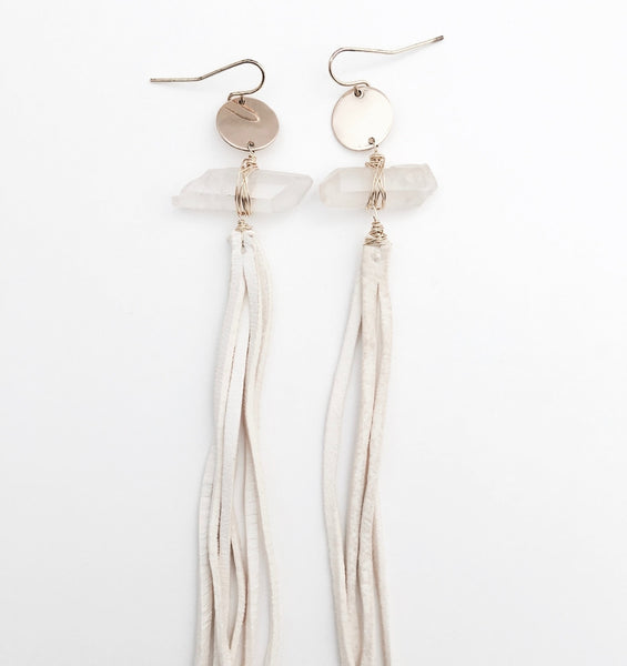 Crystal Boheme leather earrings