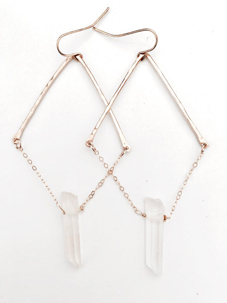 Triangle chain crystal earrings