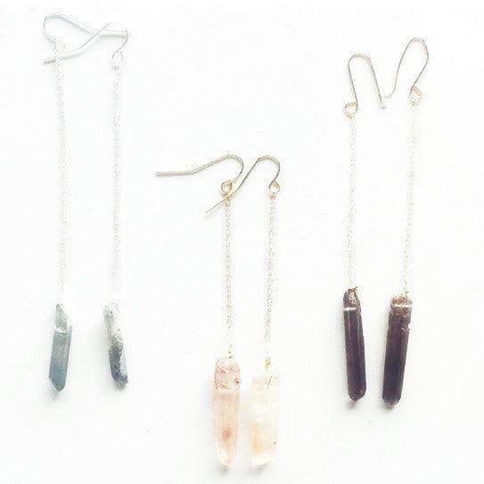 handmade crystal drop boho earrings