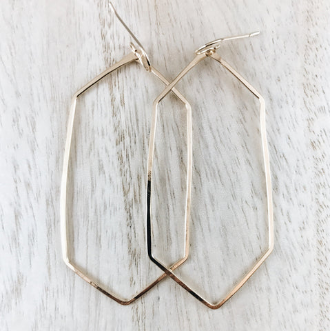 Oblong hexagon earrings