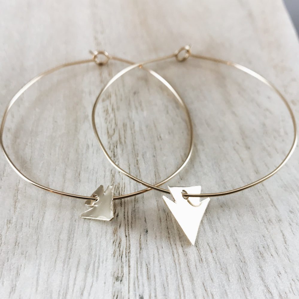 Handmade arrowhead infinity hoop boho earrings