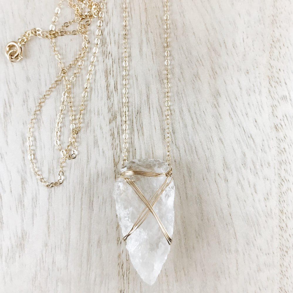 handmade boho arrowhead crystal necklace