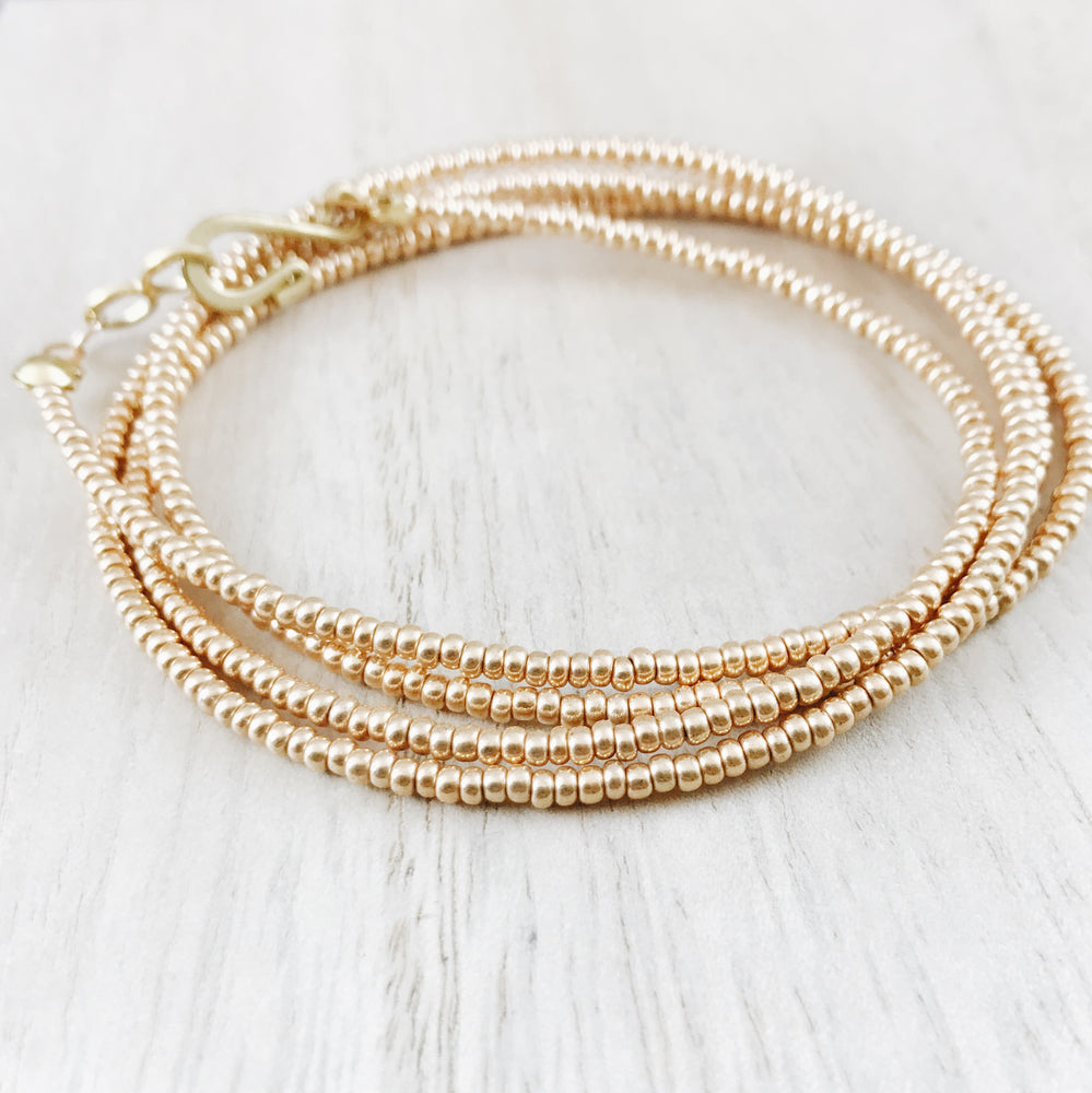 Handmade Boho Gold Pyrite Wrap Bracelet Necklace