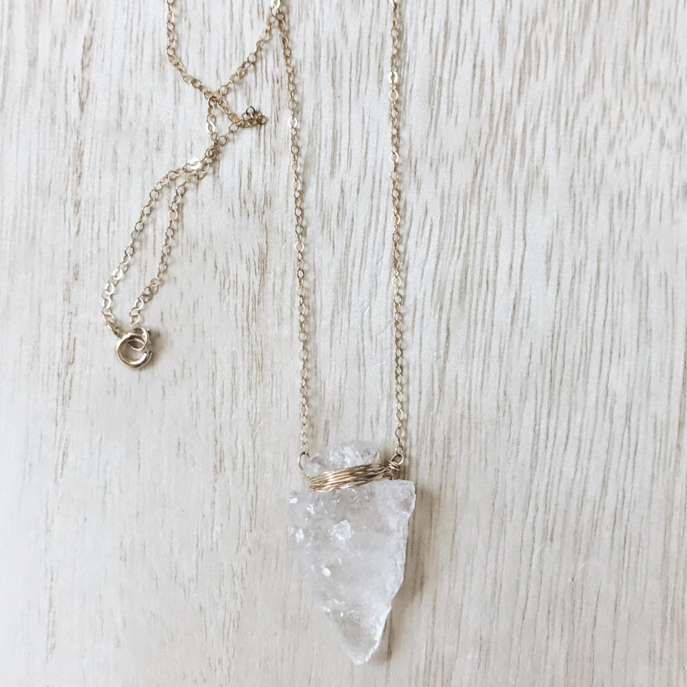 handmade boho crystal arrowhead layered necklace