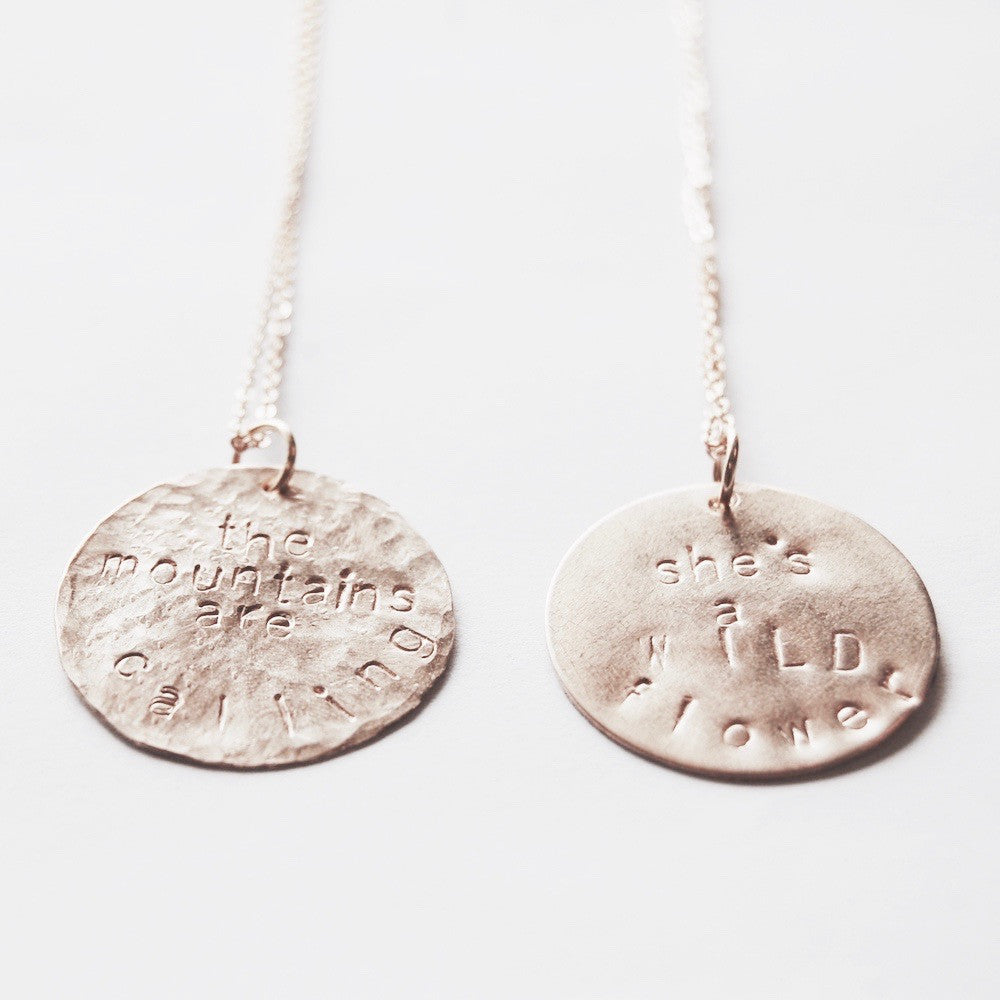 Custom stamped large coin necklace