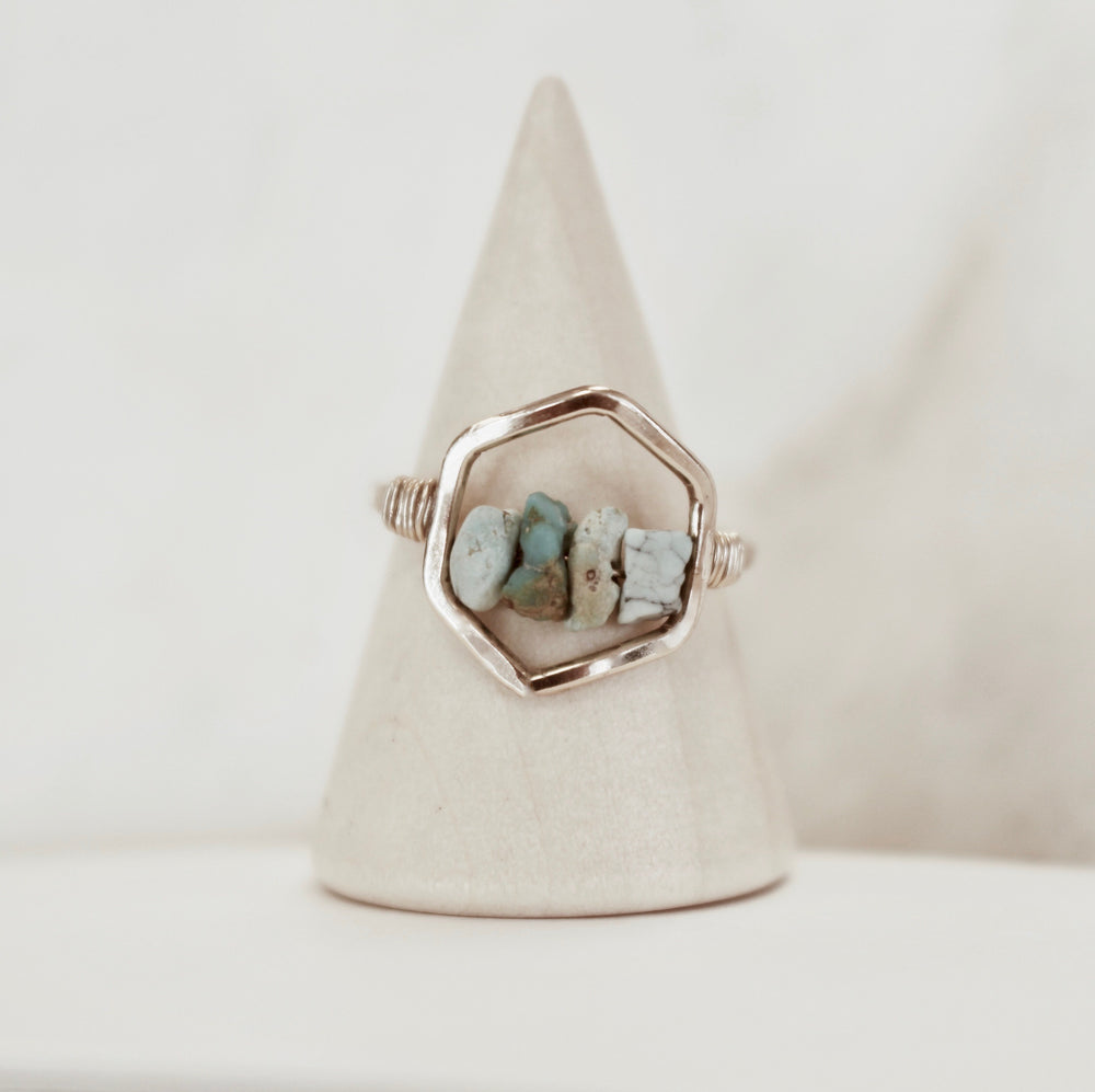 Handmade Boho Hexagon Turquoise Ring