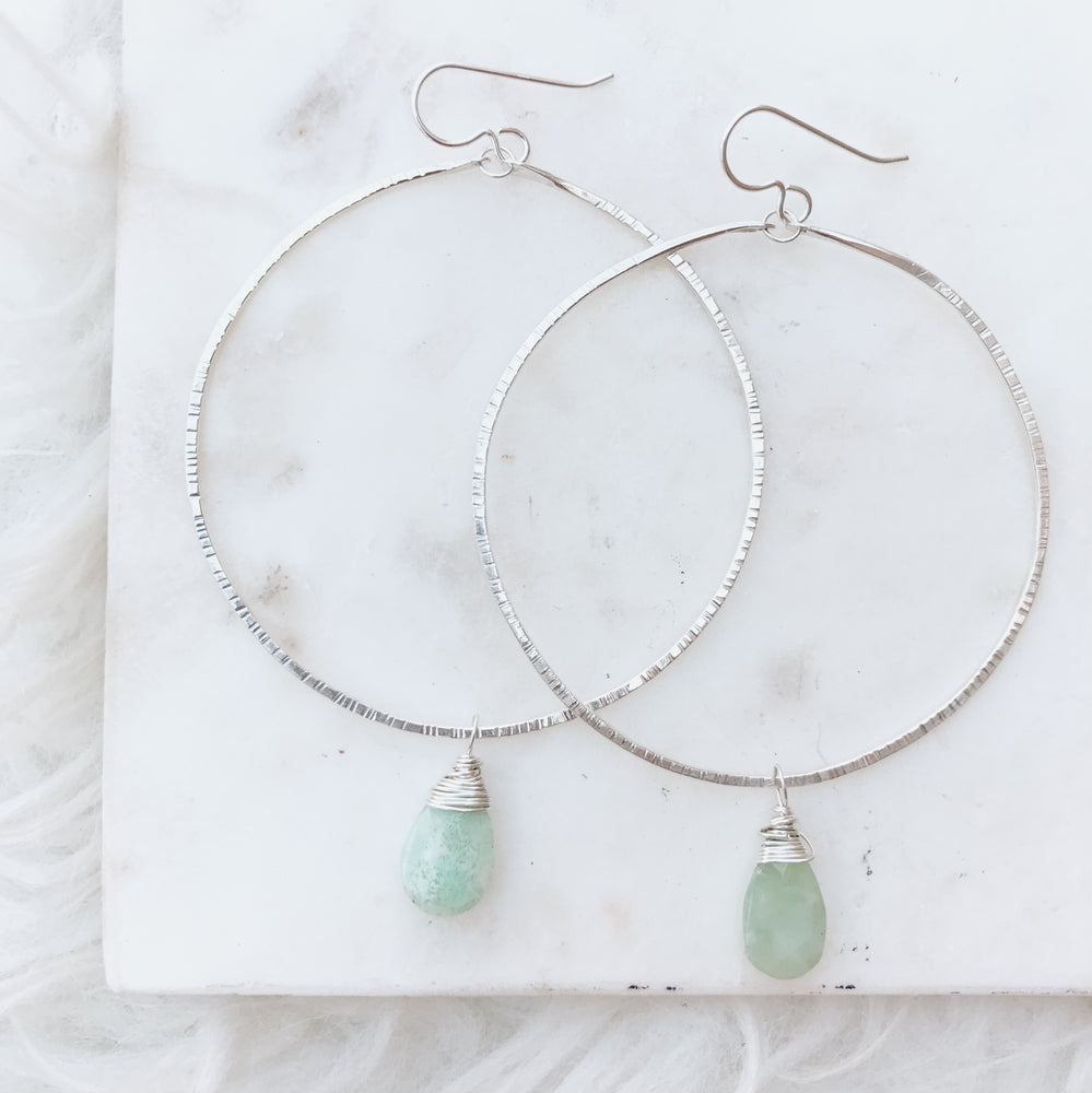 handmade boho chrysoprase earrings