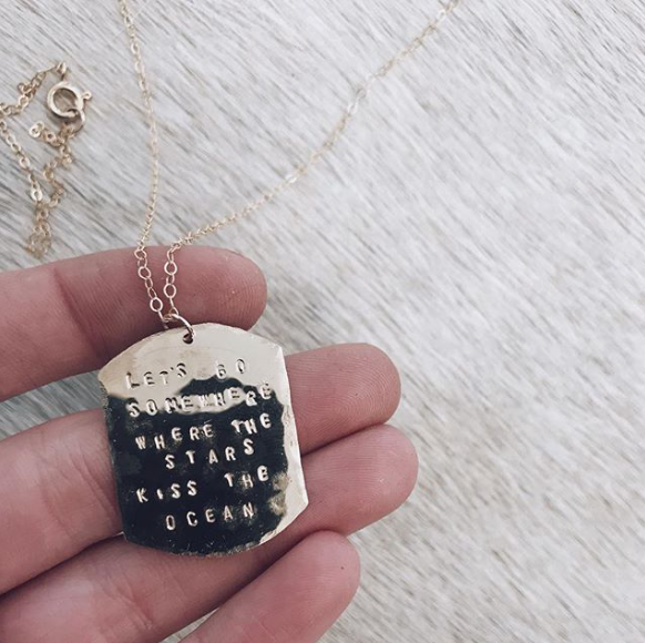 Handmade Custom Stamped Boho Dog Tag Necklace