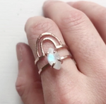 Handmade boho rainbow moonstone ring