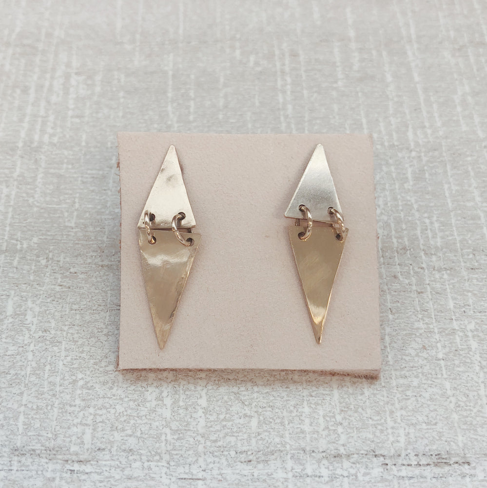 handmade boho aw metal double peak post earrings