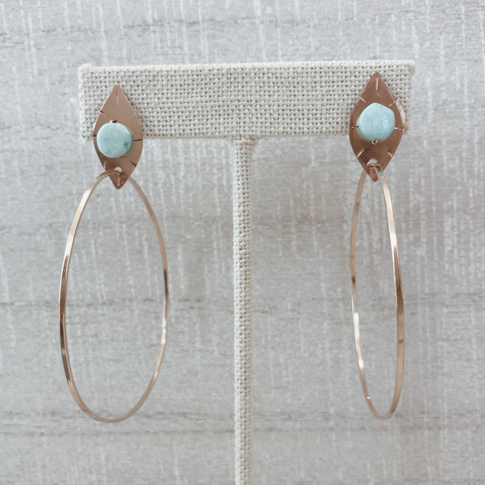 Handmade boho Peruvian opal hoop earrings