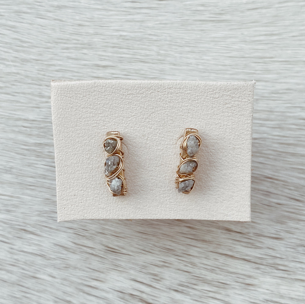 RAW DIAMOND POST EARRINGS