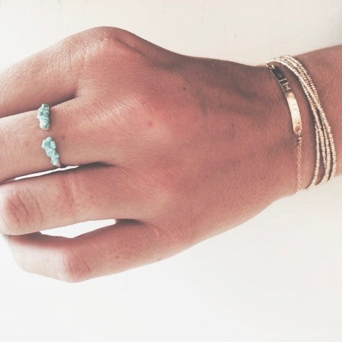 Crushed turquoise cuff ring