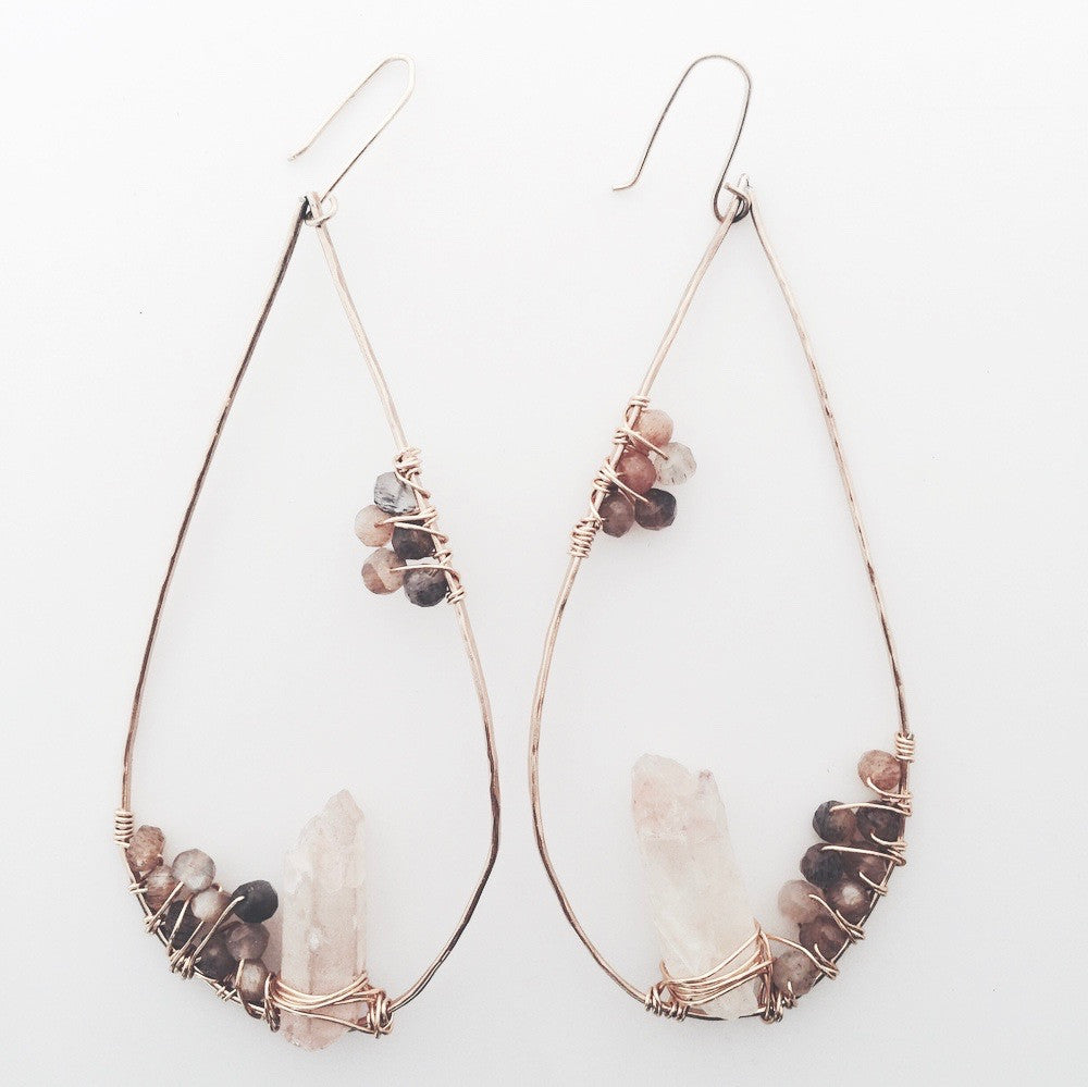 Handmade Boho Raw Crystal Formation Earrings