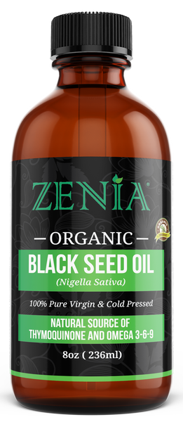 Zenia Pure Cold-Pressed (Nigella Sativa) Black Seed Oil Glass Bottle - 8oz