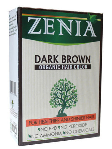 Zenia Organic Henna Hair Color Dark Brown 100g - Zenia Herbal