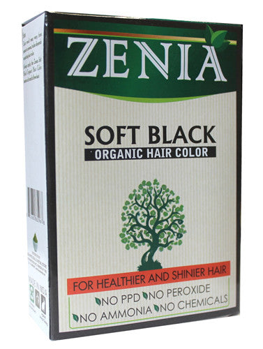 Zenia Organic Henna Hair Color Soft Black 100g - Zenia Herbal