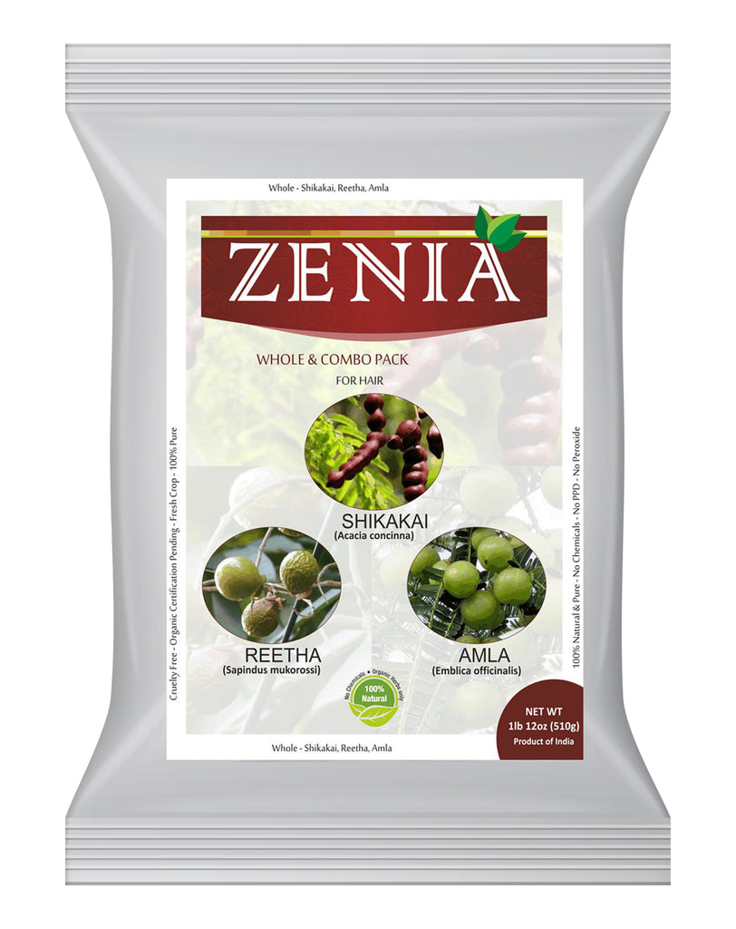 Zenia MIX Amla Aritha Shikakai Whole Herbs Hair Kit 510g