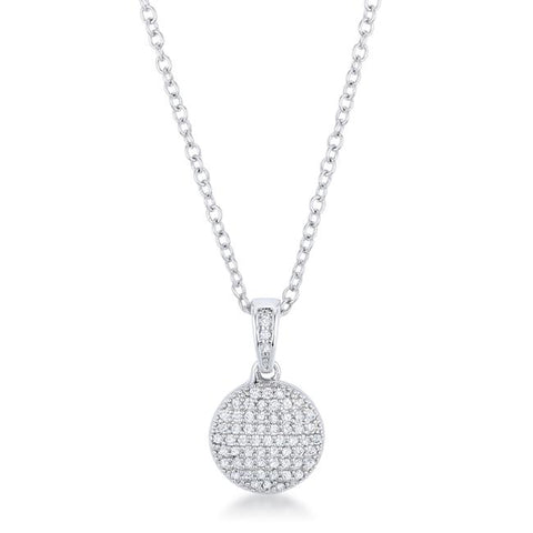 Pave CZ Disc Necklace