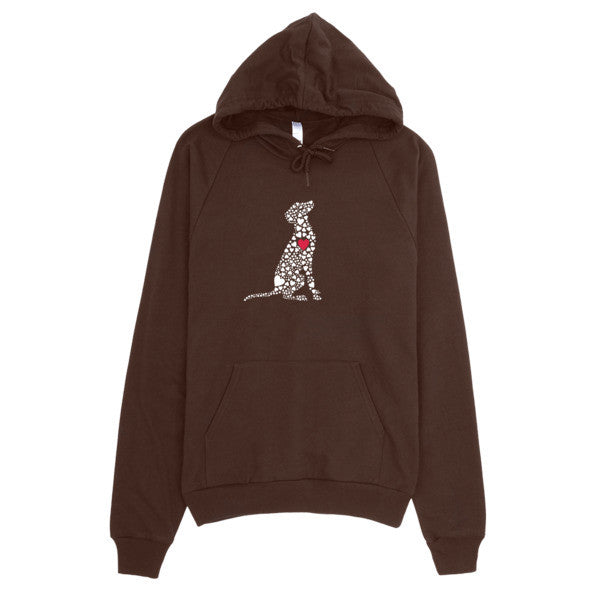 "Hoodies with White ""Heart Dog"""