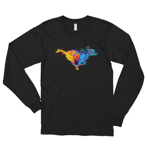 """Running Dog"" Long Sleeve, Comfy Fit, Colored T-shirt"