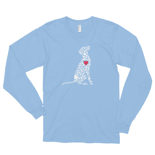 """Heart Dog"" Long Sleeve, Comfy Fit, Color Shirt"
