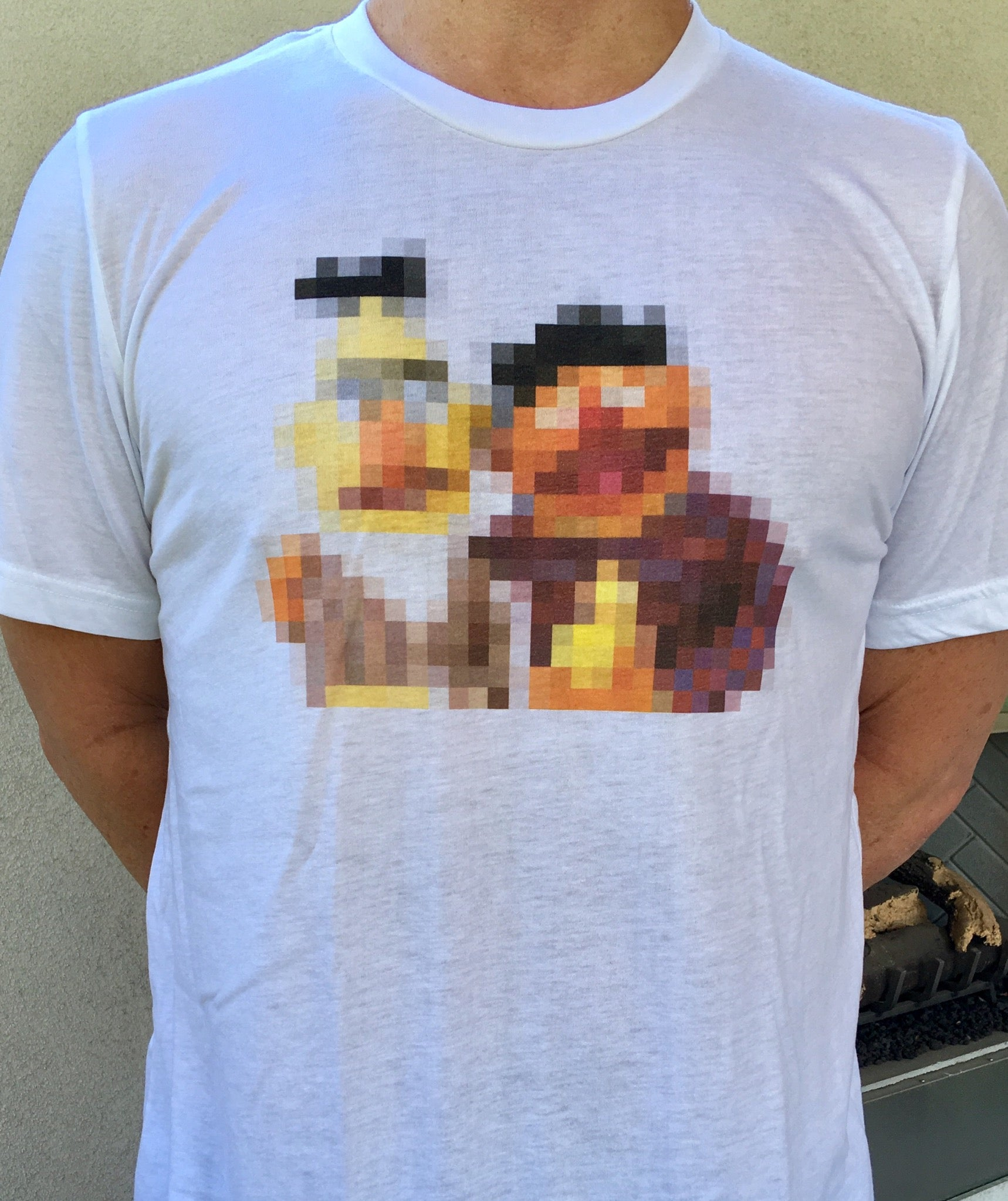 Pixelated Bert and Ernie T-Shirt - Tractor Beam Apparel