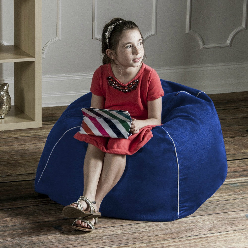 Blueberry Microsuede Jaxx Kids Club Junior Bean Bag Chair