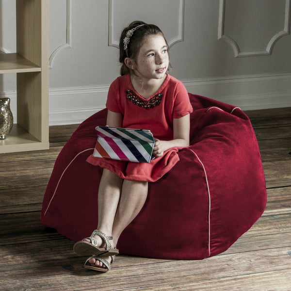 Cherry Microsuede Jaxx Kids Club Junior Bean Bag Chair