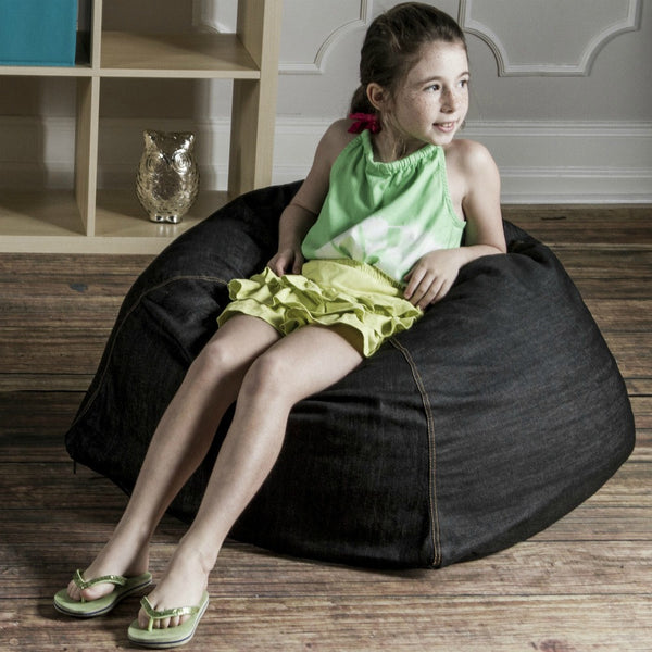 Black Denim Jaxx Kids Club Junior Bean Bag Chair