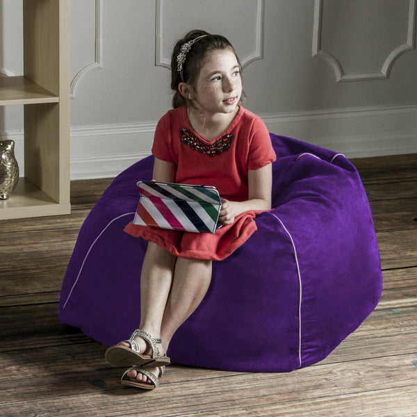 Grape Microsuede Jaxx Kids Club Junior Bean Bag Chair