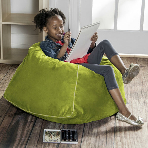 Lime Microsuede Jaxx Kids Club Junior Bean Bag Chair