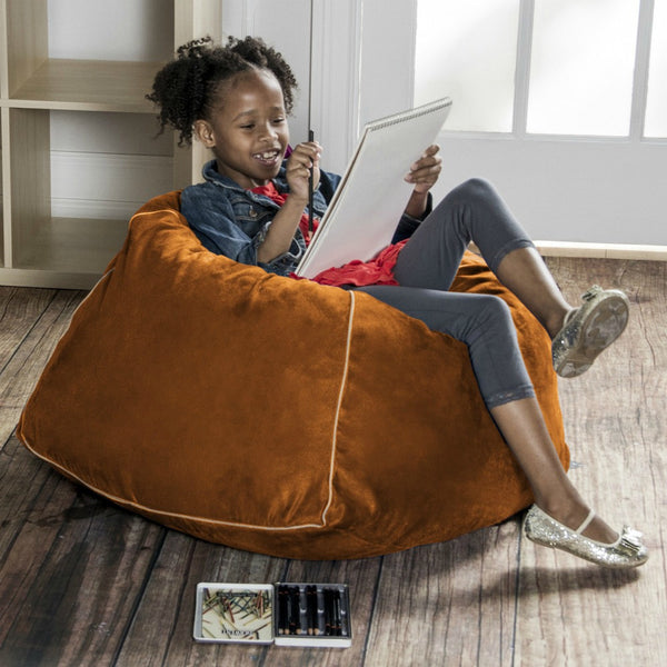 Orange Microsuede Jaxx Kids Club Junior Bean Bag Chair