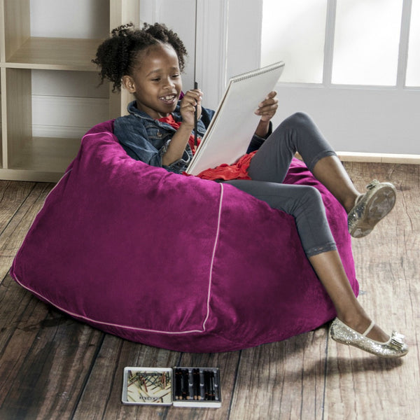 Fuchsia Microsuede Jaxx Kids Club Junior Bean Bag Chair